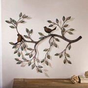 "Metálica Decoración de Pared ""rama con pájaros"""